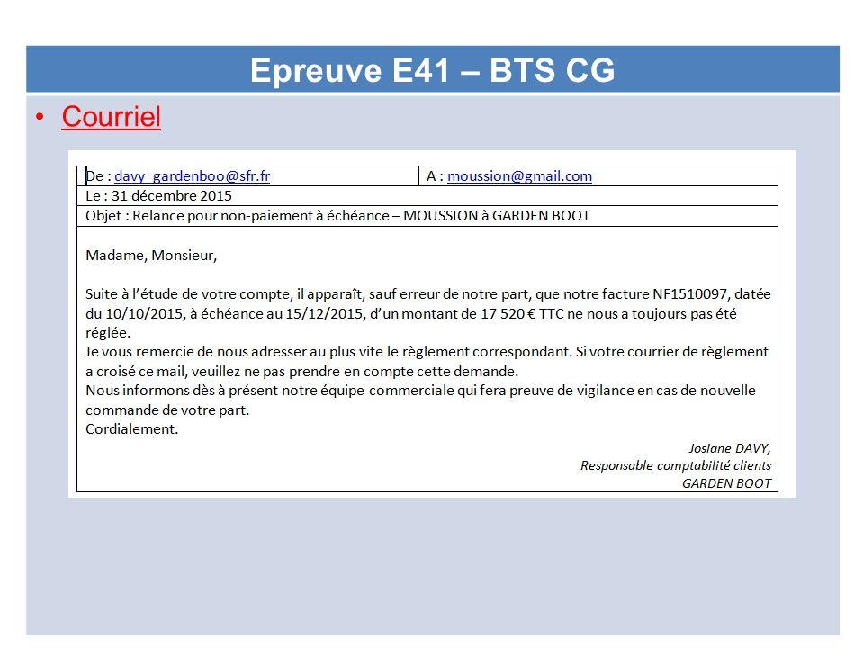 Epreuve E41 – BTS CG Courriel