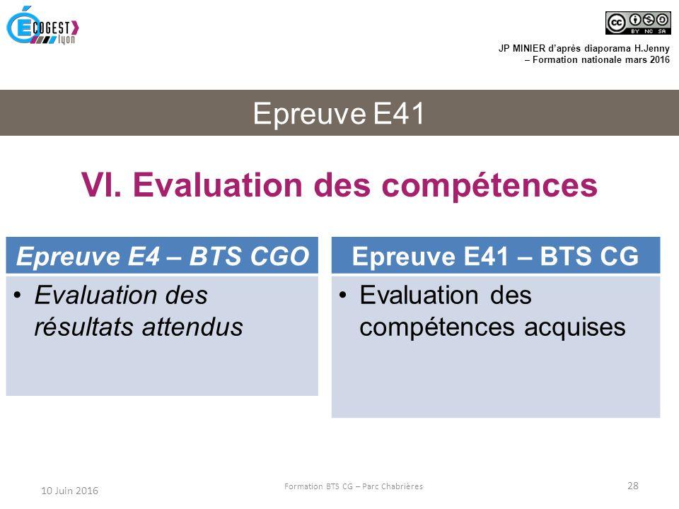 VI. Evaluation des compétences
