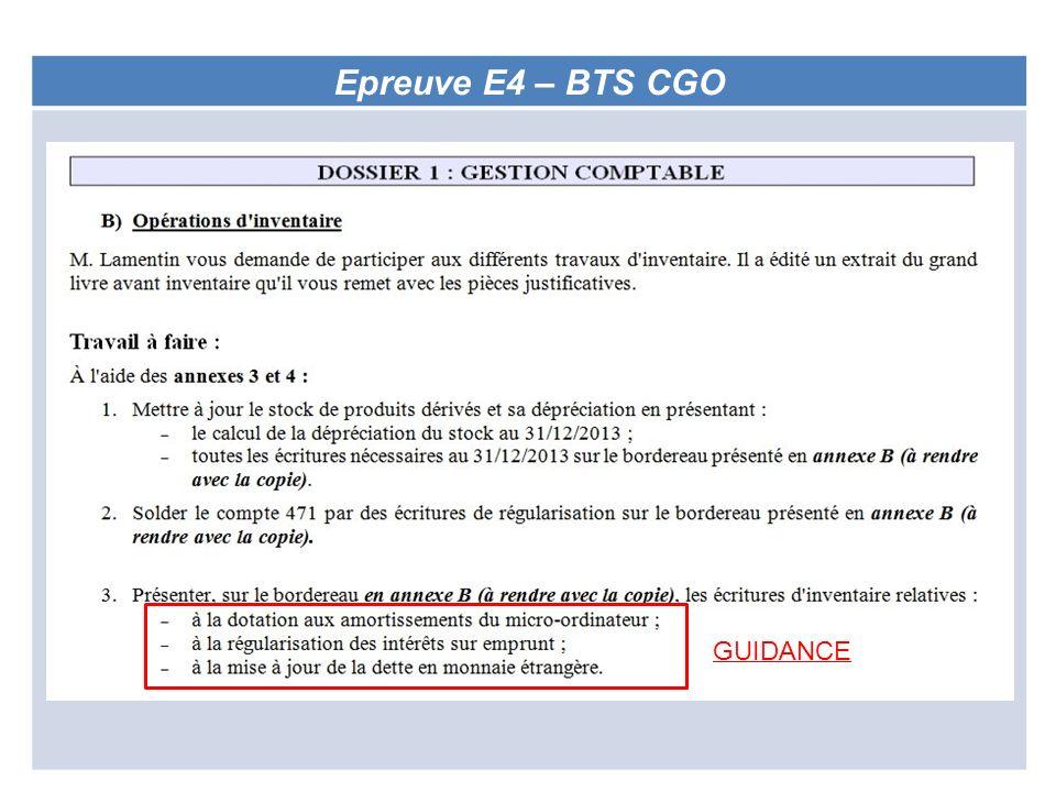 Epreuve E4 – BTS CGO GUIDANCE
