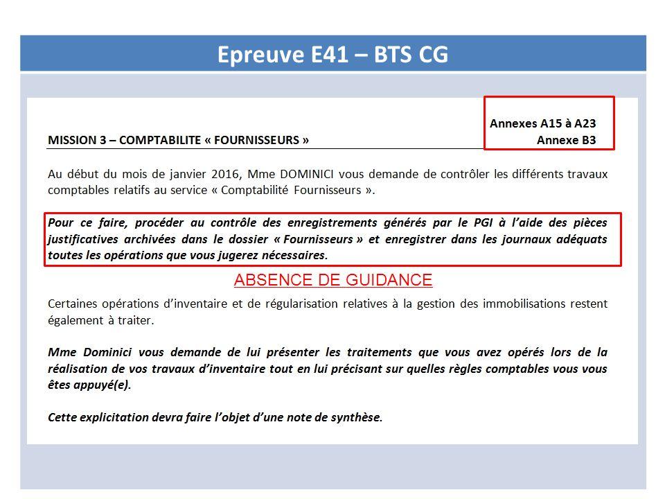 Epreuve E41 – BTS CG ABSENCE DE GUIDANCE
