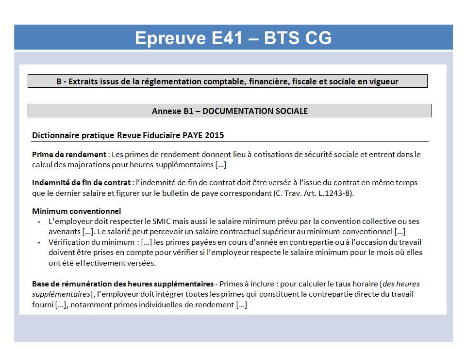 Epreuve E41 – BTS CG