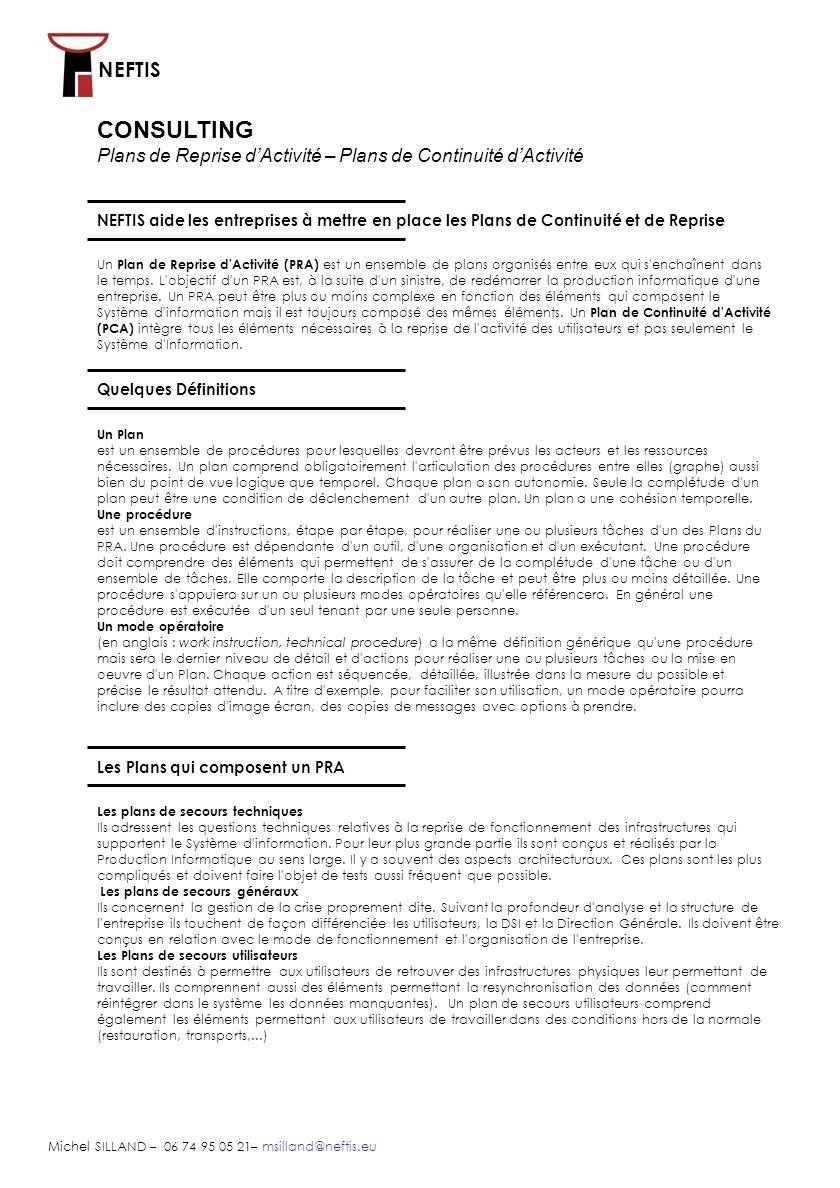 CONSULTING Plans de Reprise d'Activité – Plans de Continuité d'Activité.