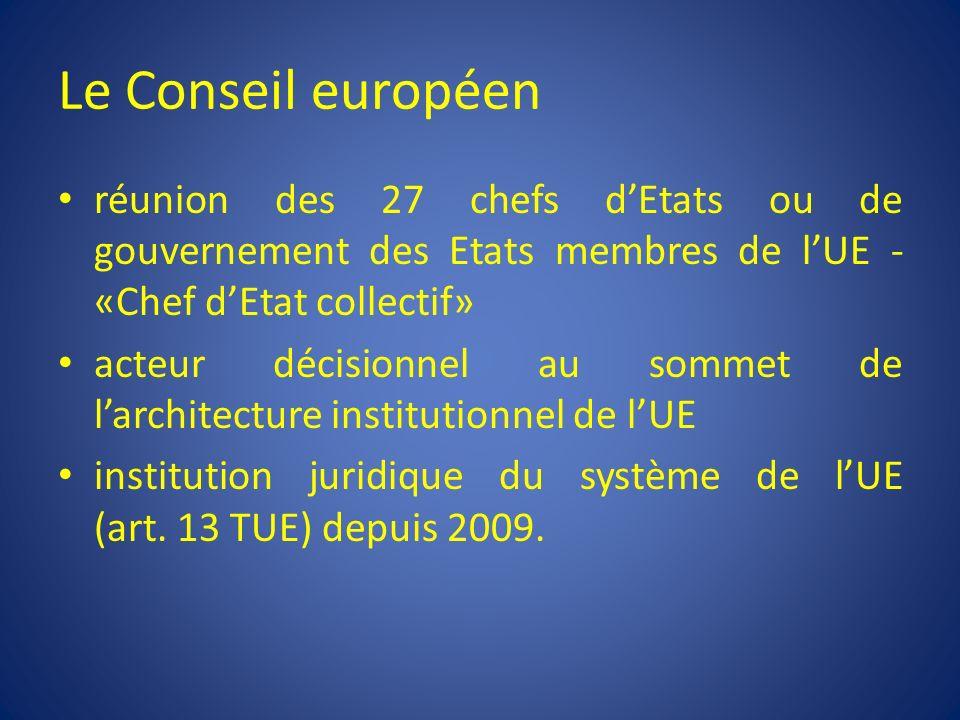 Le Conseil européen réunion des 27 chefs d'Etats ou de gouvernement des Etats membres de l'UE - «Chef d'Etat collectif»