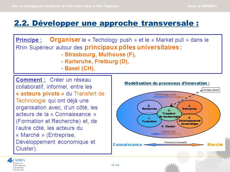 2.2. Développer une approche transversale :