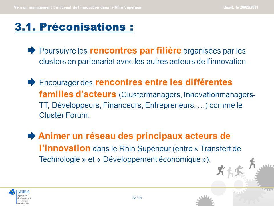 3.1. Préconisations : ➨ Poursuivre les rencontres par filière organisées par les clusters en partenariat avec les autres acteurs de l'innovation.