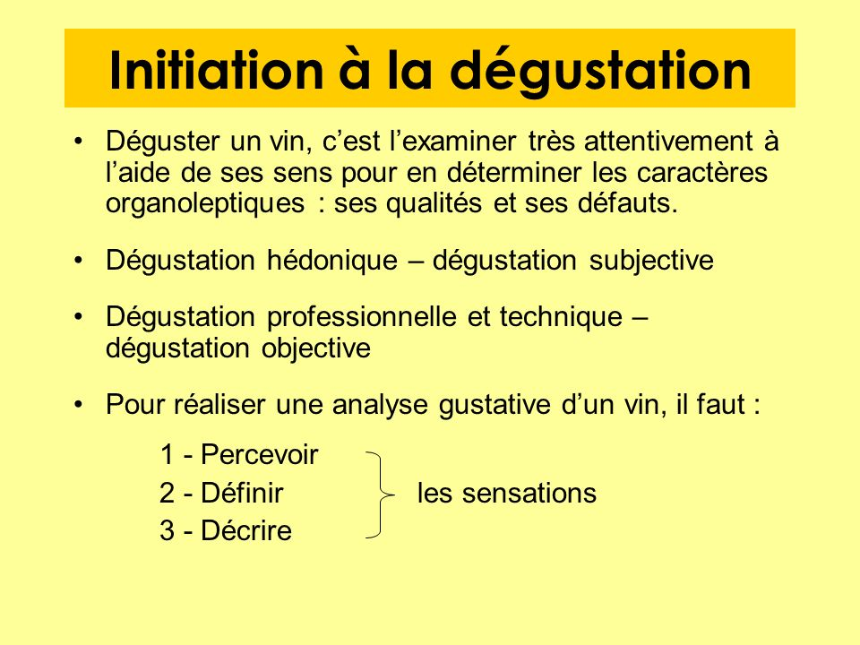 Initiation à la dégustation