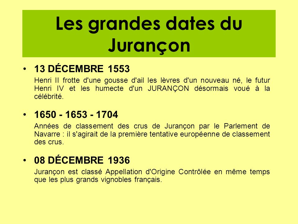 Les grandes dates du Jurançon