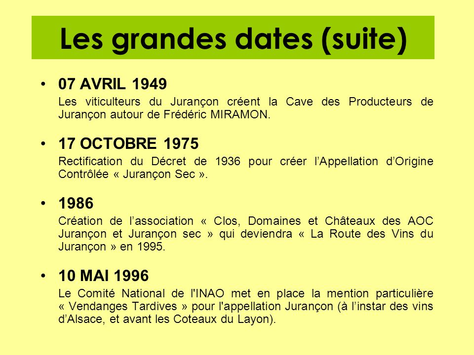 Les grandes dates (suite)