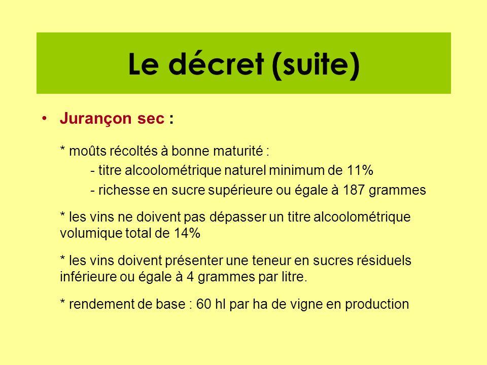 Le décret (suite) Jurançon sec : * moûts récoltés à bonne maturité :