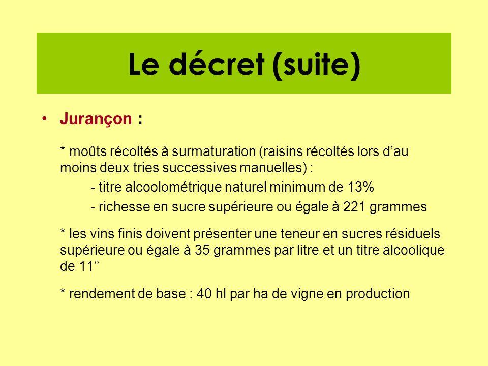 Le décret (suite) Jurançon :