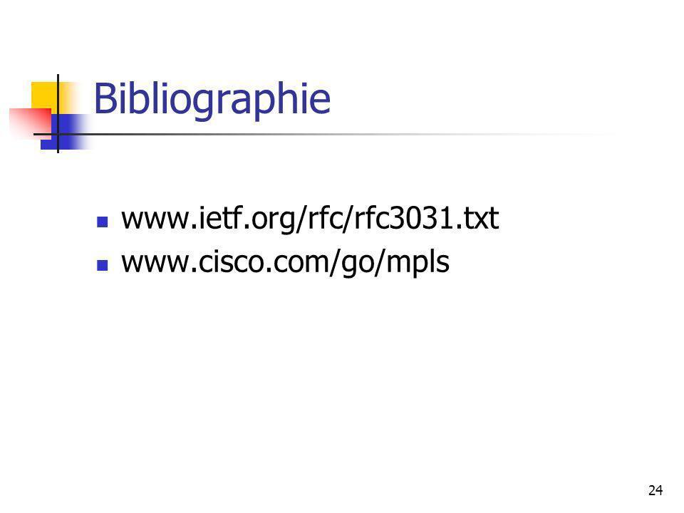 Bibliographie www.ietf.org/rfc/rfc3031.txt www.cisco.com/go/mpls
