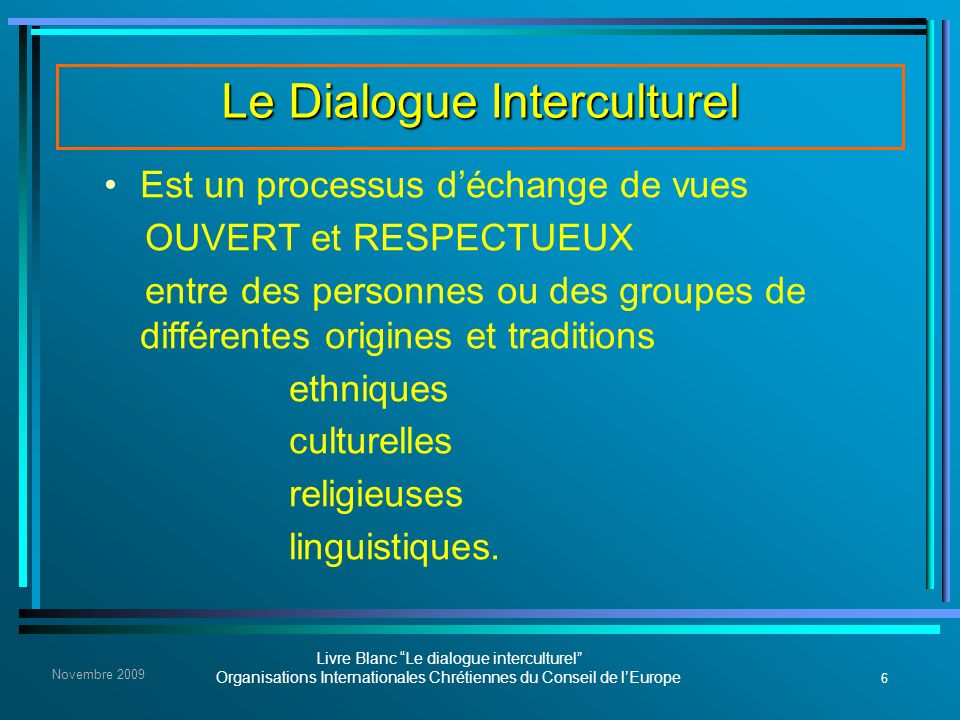 Le Dialogue Interculturel
