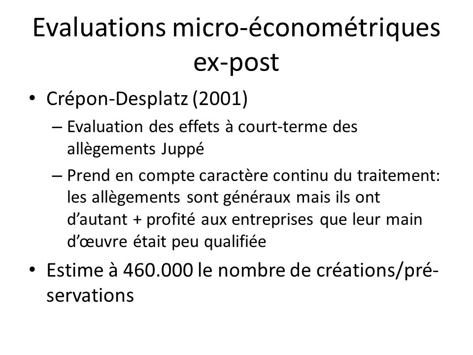 Evaluations micro-économétriques ex-post