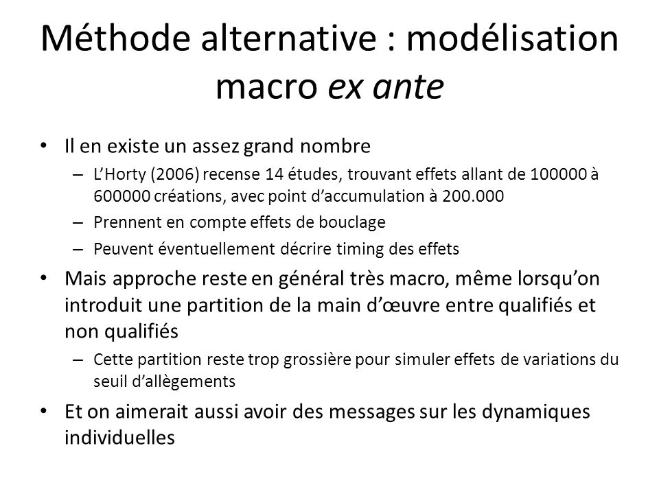 Méthode alternative : modélisation macro ex ante