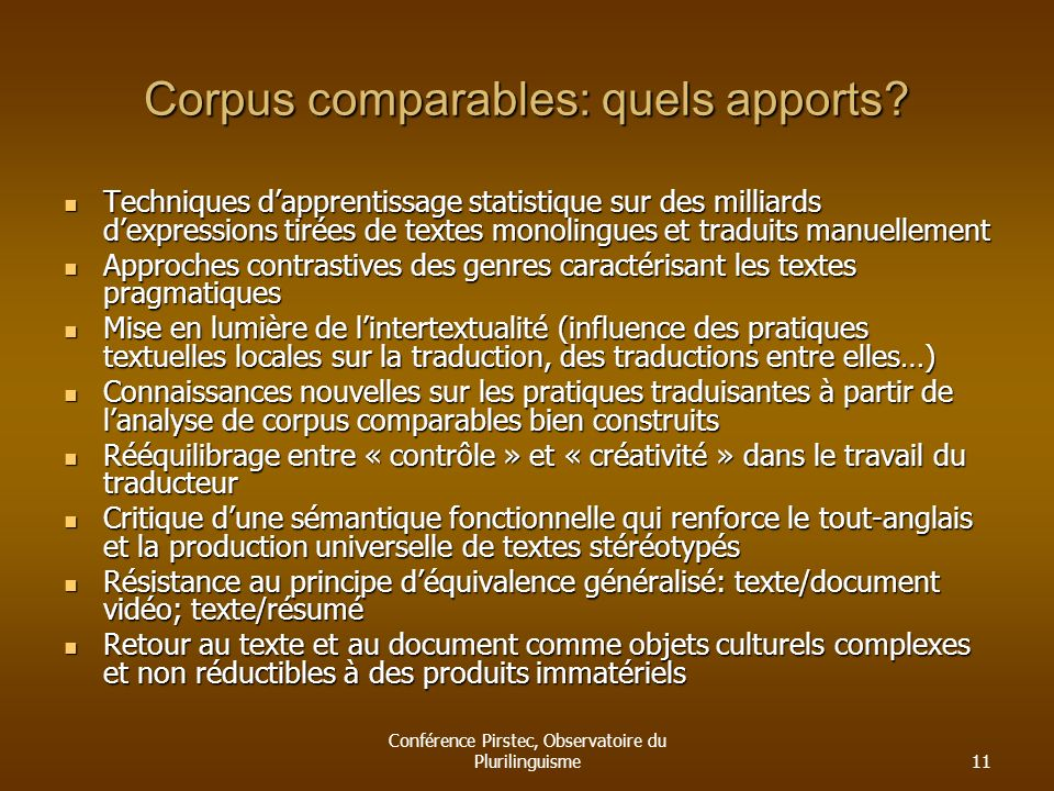 Corpus comparables: quels apports