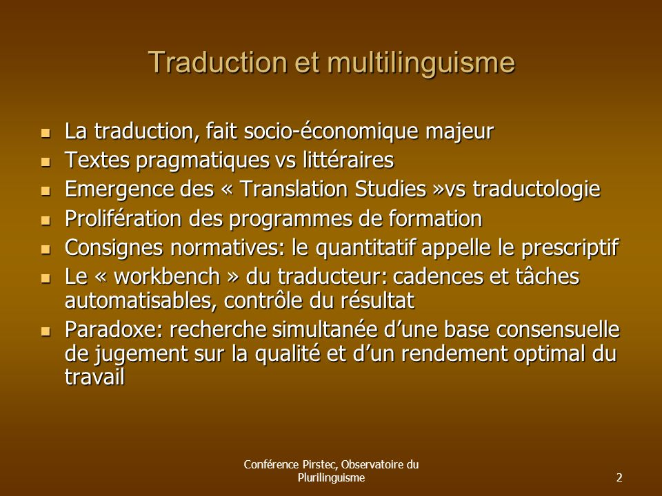 Traduction et multilinguisme
