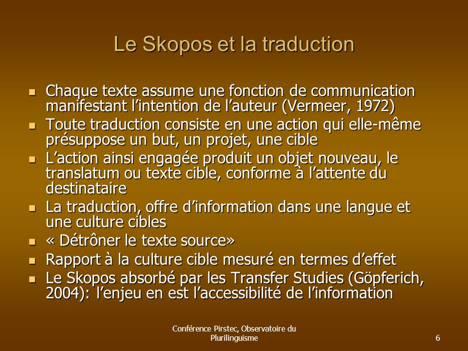 Le Skopos et la traduction