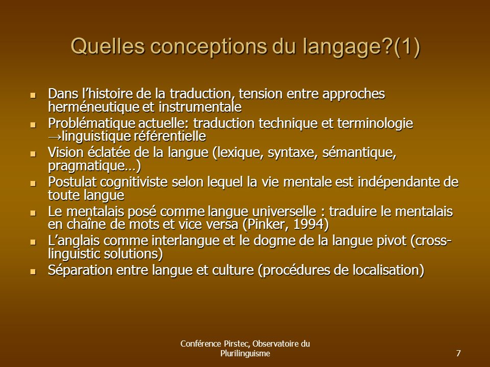 Quelles conceptions du langage (1)