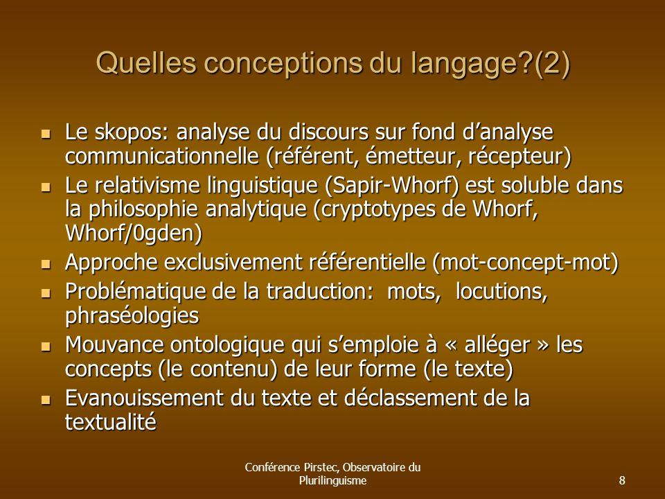 Quelles conceptions du langage (2)