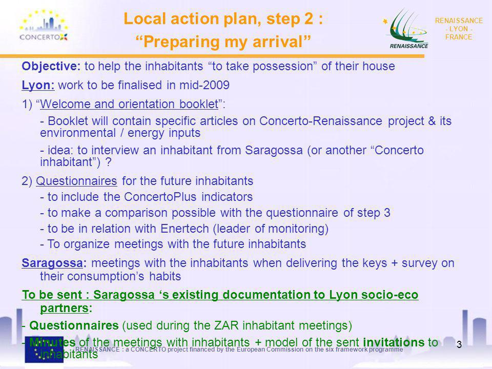 Local action plan, step 2 : Preparing my arrival