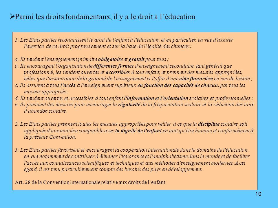 Parmi les droits fondamentaux, il y a le droit à l'éducation