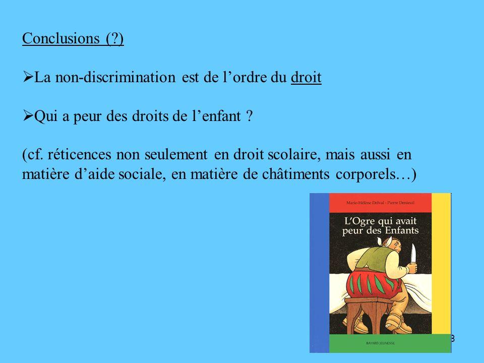 Conclusions ( ) La non-discrimination est de l'ordre du droit. Qui a peur des droits de l'enfant