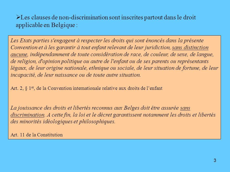 Les clauses de non-discrimination sont inscrites partout dans le droit applicable en Belgique :