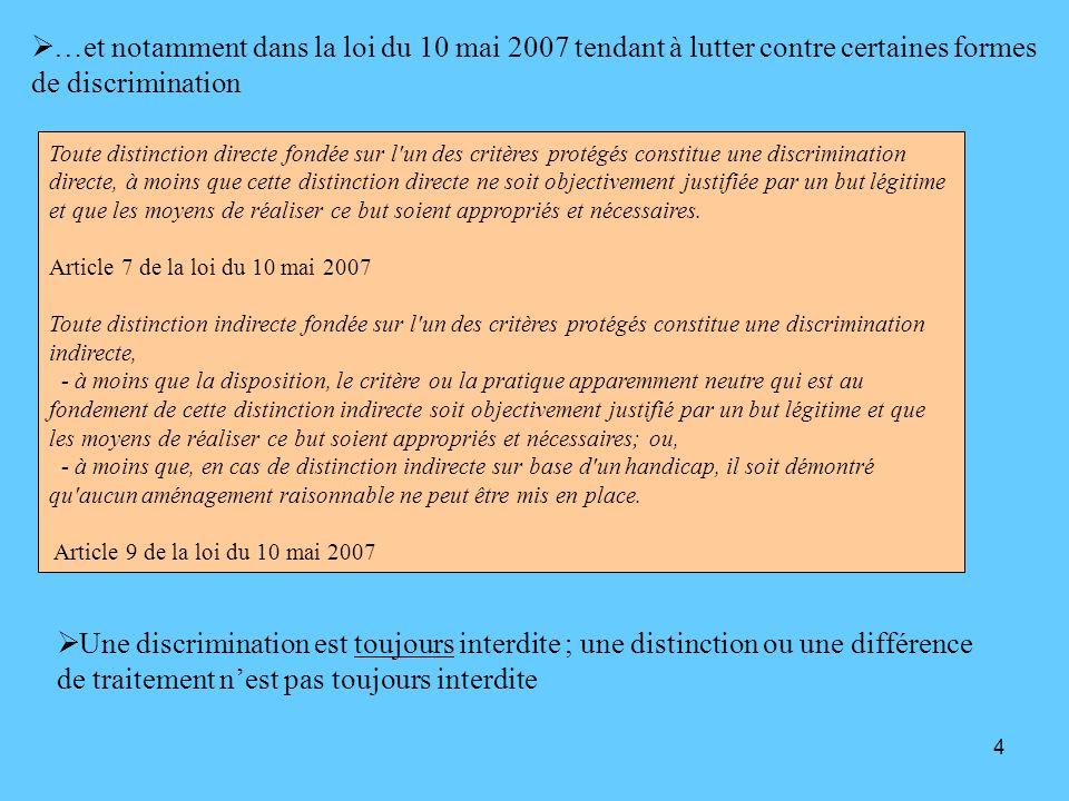 …et notamment dans la loi du 10 mai 2007 tendant à lutter contre certaines formes de discrimination