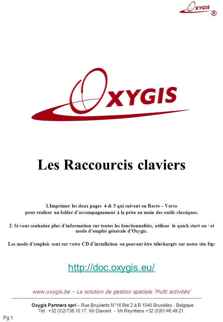 Les Raccourcis claviers
