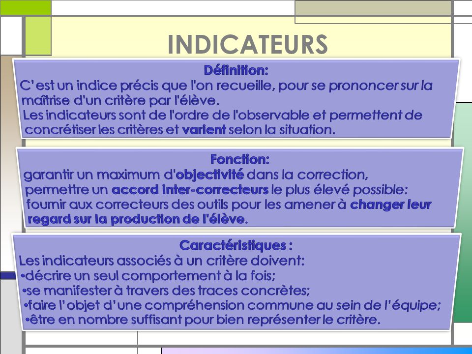INDICATEURS Définition: