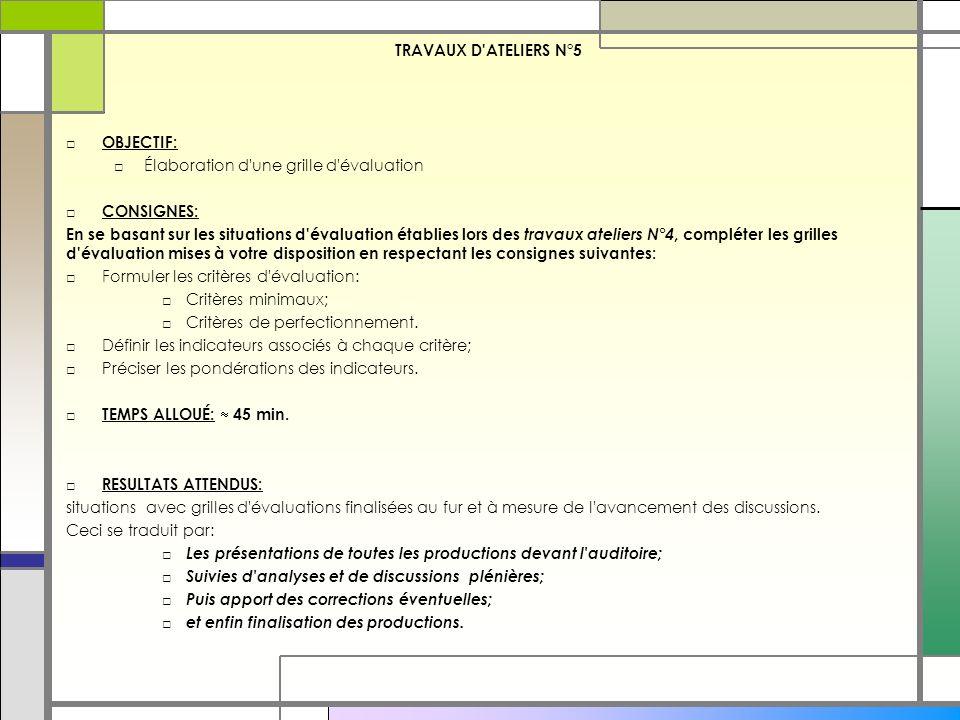 TRAVAUX D ATELIERS N°5 OBJECTIF: Élaboration d une grille d évaluation. CONSIGNES: