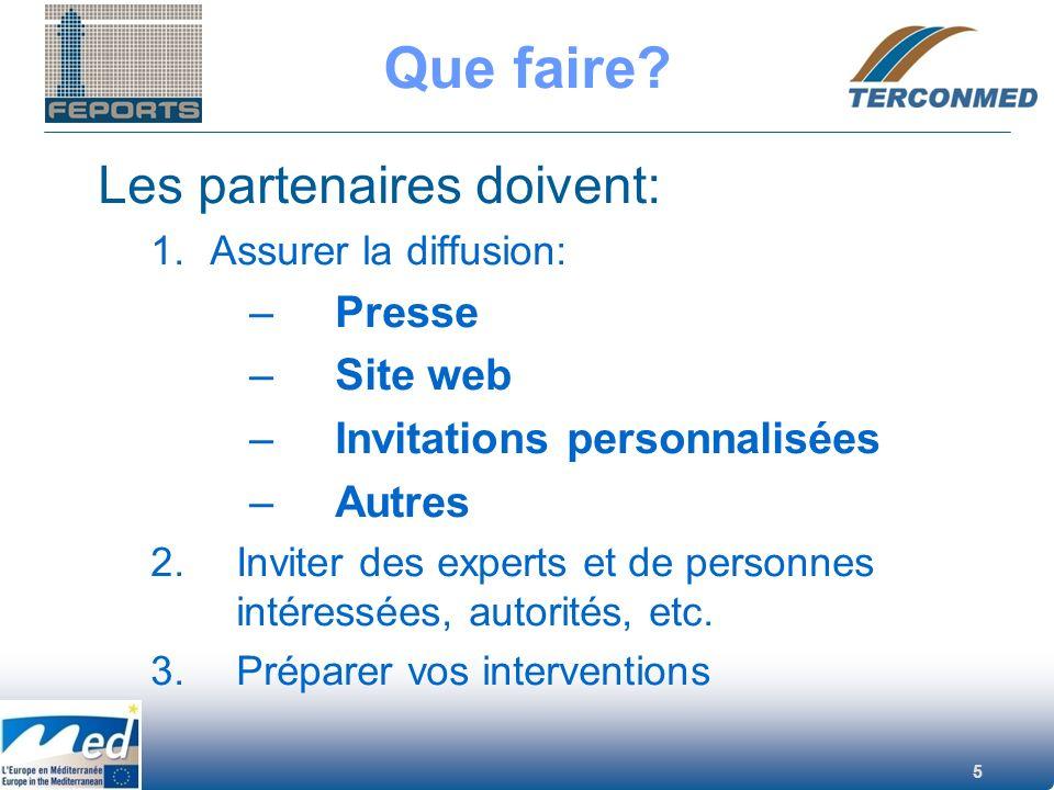 Que faire Les partenaires doivent: Presse Site web