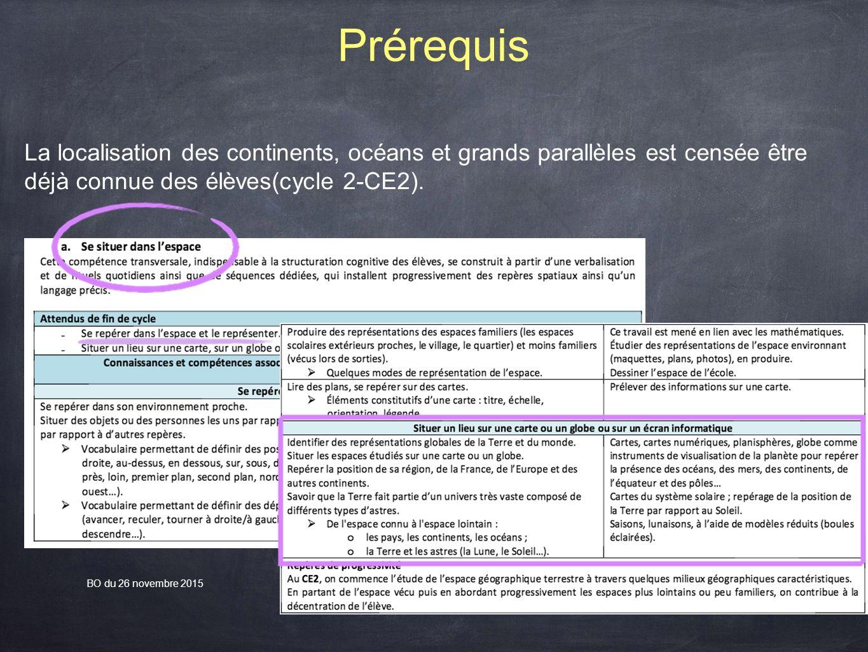 Prérequis La localisation des continents, océans et grands parallèles est censée être déjà connue des élèves(cycle 2-CE2).