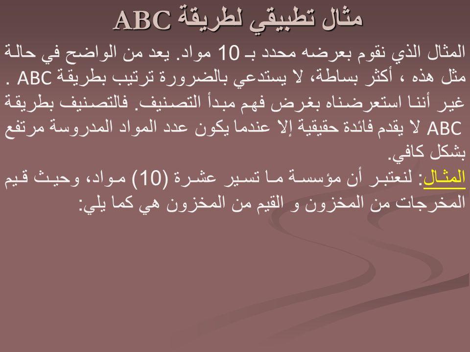 مثال تطبيقي لطريقة ABC