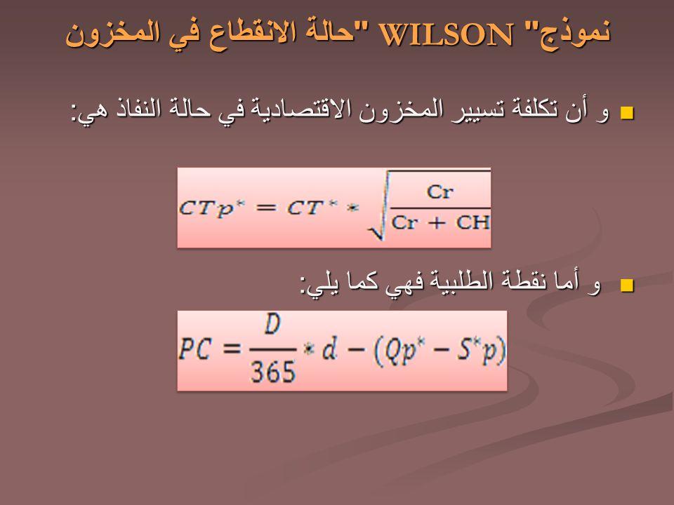 نموذج WILSON حالة الانقطاع في المخزون