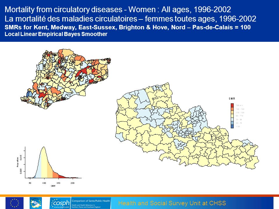 Mortality from circulatory diseases - Women : All ages, 1996-2002 La mortalité des maladies circulatoires – femmes toutes ages, 1996-2002 SMRs for Kent, Medway, East-Sussex, Brighton & Hove, Nord – Pas-de-Calais = 100 Local Linear Empirical Bayes Smoother