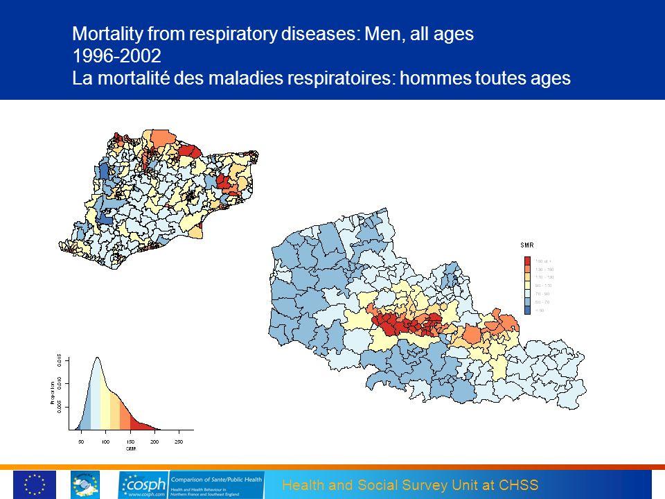 Mortality from respiratory diseases: Men, all ages 1996-2002 La mortalité des maladies respiratoires: hommes toutes ages