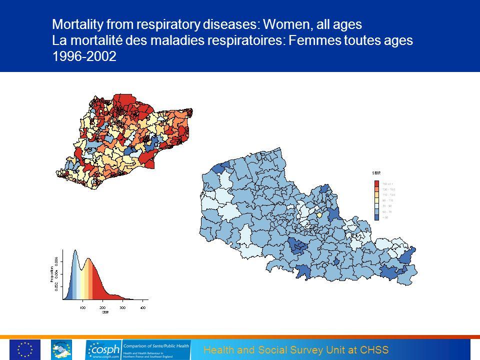 Mortality from respiratory diseases: Women, all ages La mortalité des maladies respiratoires: Femmes toutes ages 1996-2002
