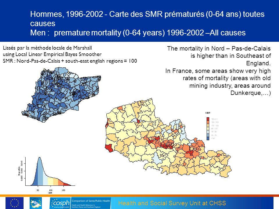 Hommes, 1996-2002 - Carte des SMR prématurés (0-64 ans) toutes causes Men : premature mortality (0-64 years) 1996-2002 –All causes