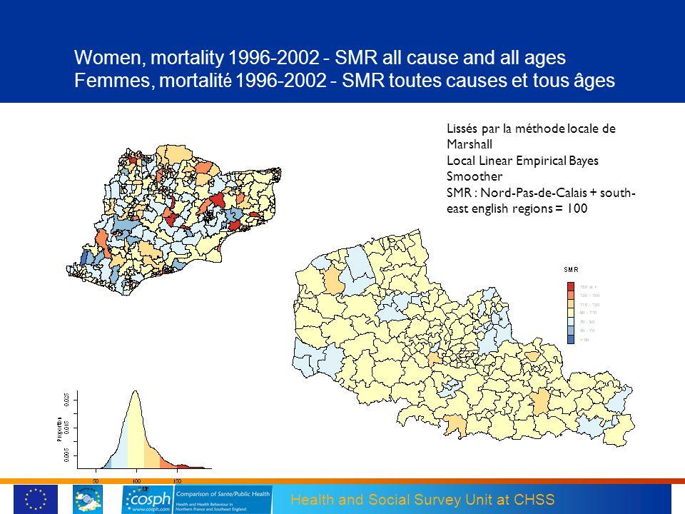 Women, mortality 1996-2002 - SMR all cause and all ages Femmes, mortalité 1996-2002 - SMR toutes causes et tous âges