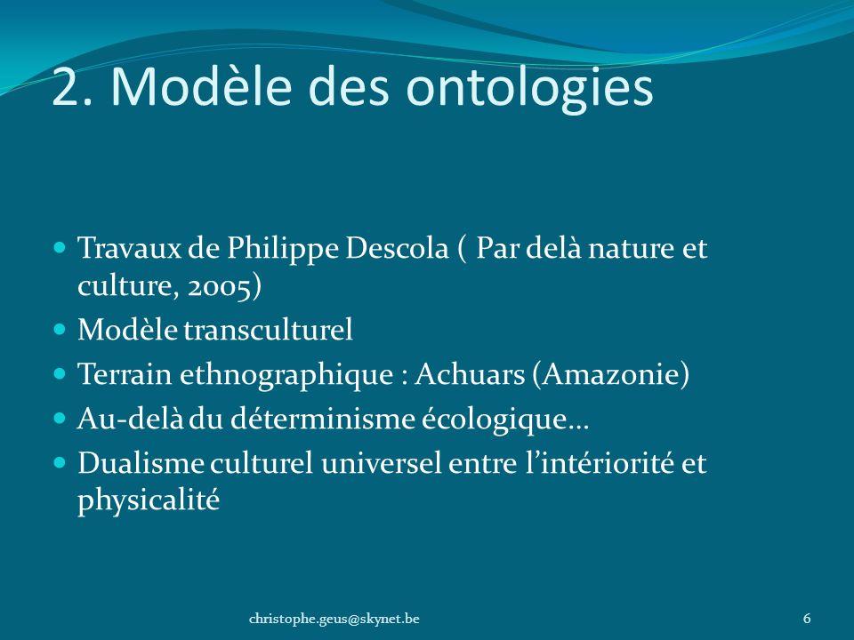 2. Modèle des ontologiesTravaux de Philippe Descola ( Par delà nature et culture, 2005) Modèle transculturel.