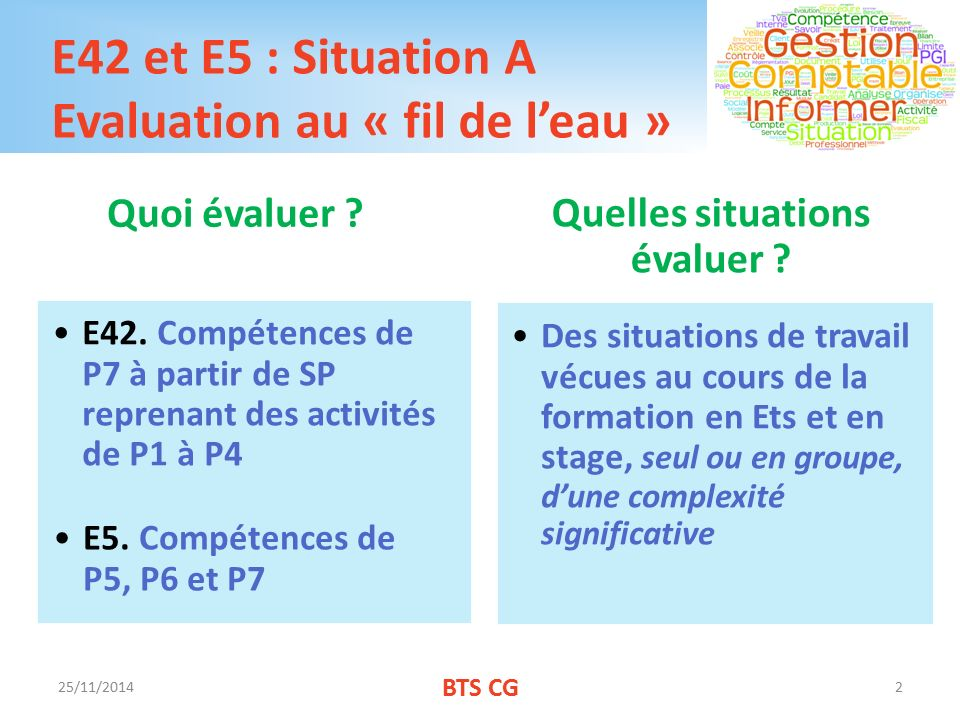 E42 et E5 : Situation A Evaluation au « fil de l'eau »