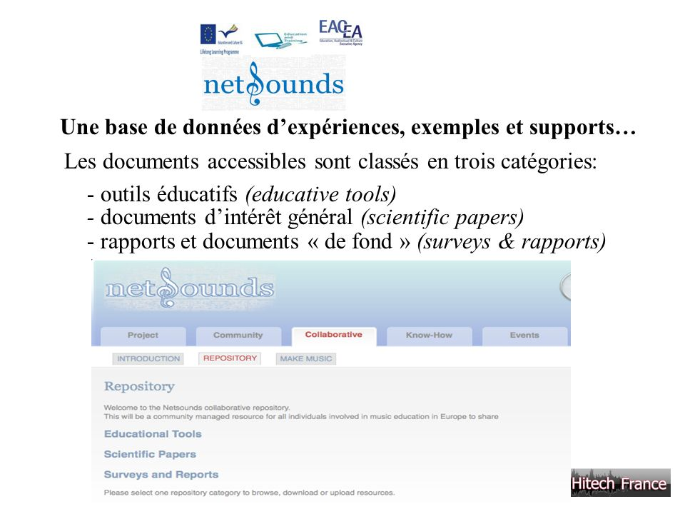 Une base de données d'expériences, exemples et supports…