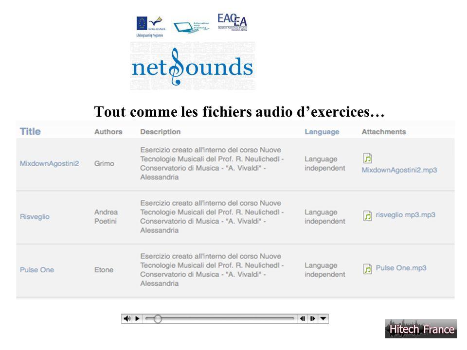 Tout comme les fichiers audio d'exercices…