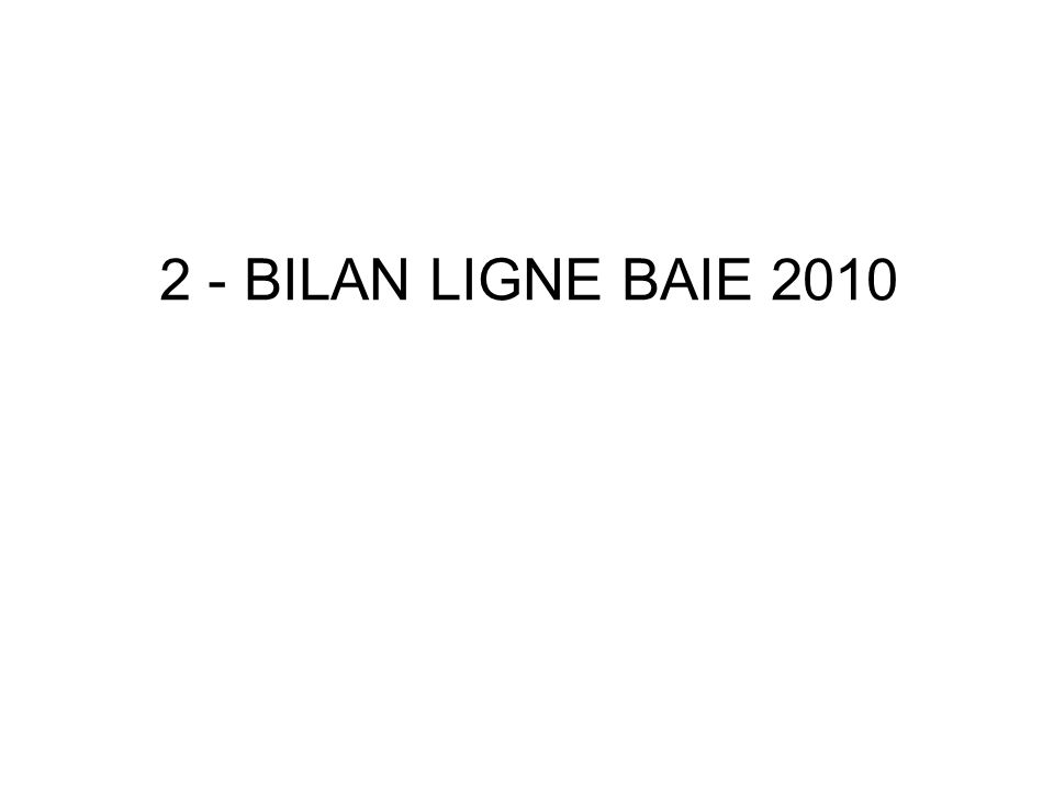 2 - BILAN LIGNE BAIE 2010