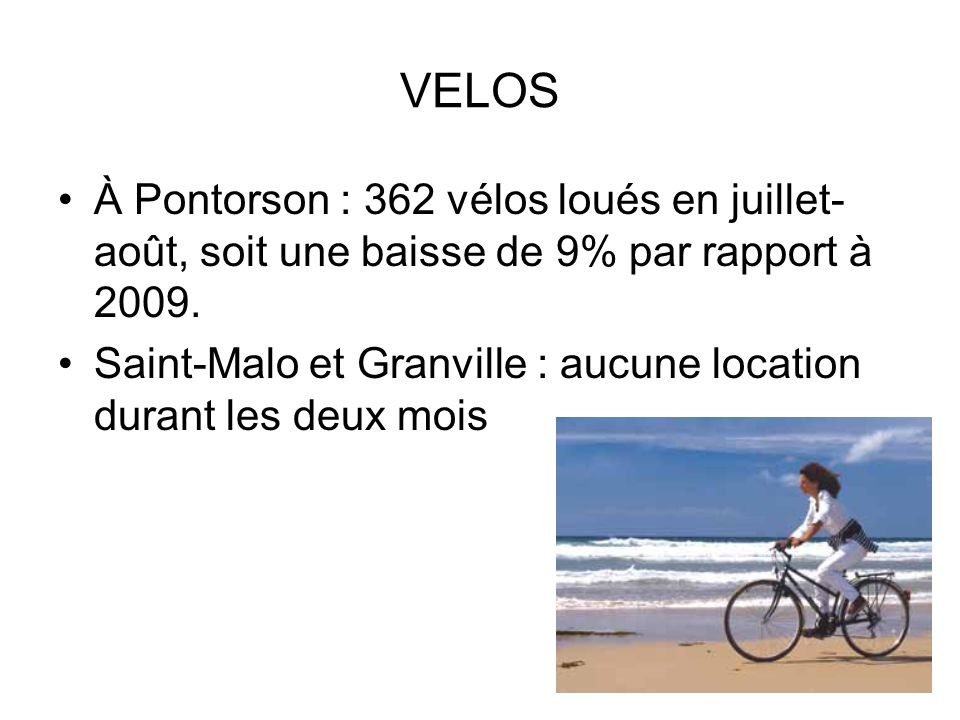 VELOS À Pontorson : 362 vélos loués en juillet-août, soit une baisse de 9% par rapport à 2009.