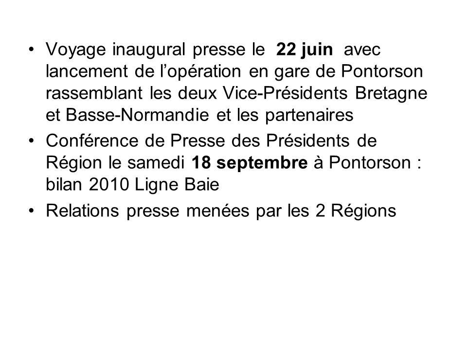Voyage inaugural presse le 22 juin avec lancement de l'opération en gare de Pontorson rassemblant les deux Vice-Présidents Bretagne et Basse-Normandie et les partenaires