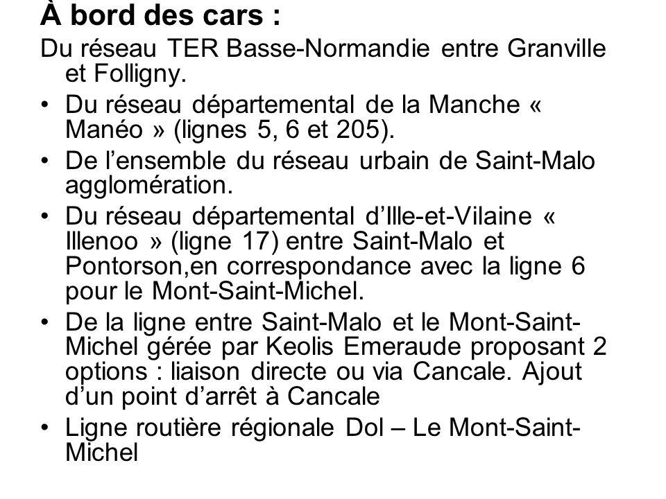 À bord des cars : Du réseau TER Basse-Normandie entre Granville et Folligny. Du réseau départemental de la Manche « Manéo » (lignes 5, 6 et 205).