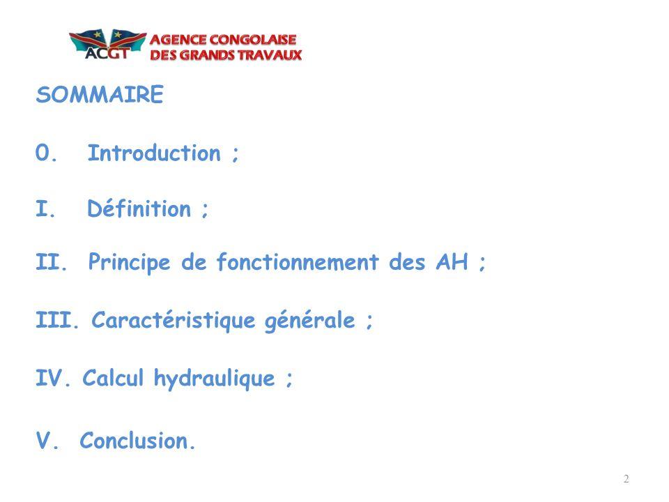 SOMMAIRE 0. Introduction ; I. Définition ; II. Principe de fonctionnement des AH ; III. Caractéristique générale ;