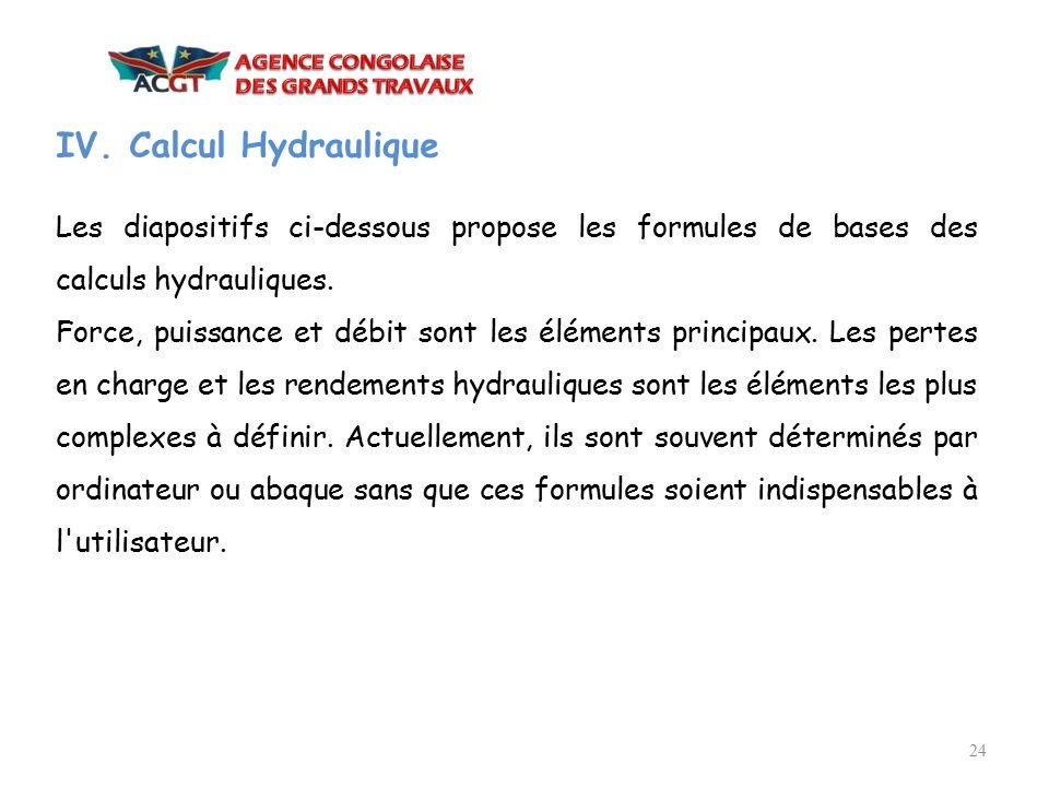 IV. Calcul Hydraulique Les diapositifs ci-dessous propose les formules de bases des calculs hydrauliques.